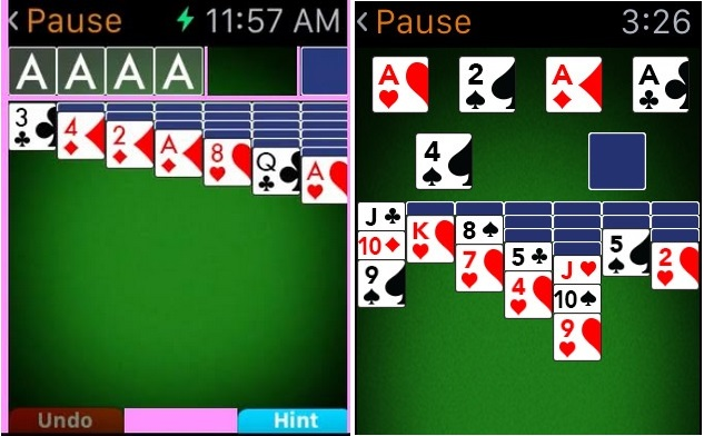 The rejected version (left) shows, in pink, the areas between controls which ended up being an issue. The accepted version is on the right.