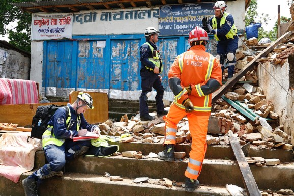 The UK's International Search and Rescue in Chautara, Nepal following the April 2015 earthquake.
