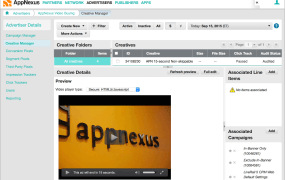 A screen in the AppNexus ad buying platform, showing the new video capability