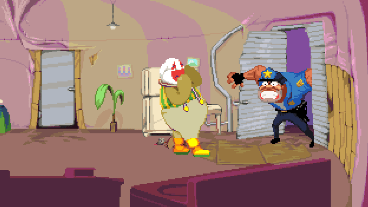 Dropsy's town is comprised entirely of miserable people in need of the titular clown's skills.