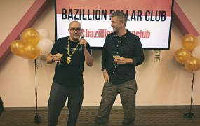 """500 Startups' Dave McClure and Highway1's Brady Forrest at the premiere party for their new Syfy reality show """"Bazillion Dollar Club"""" on September 21, 2015"""