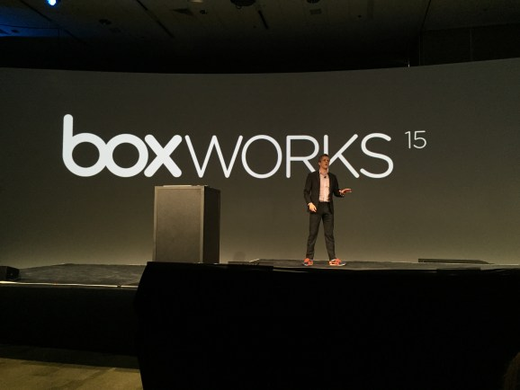 Box chief executive Aaron Levie on stage at BoxWorks conference on September 29, 2015.