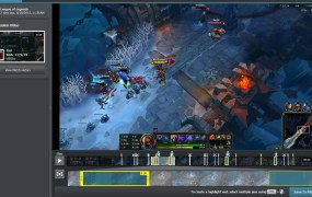 Plays.tv gallery view shows a post-match visual timeline of a gameplay recording. The highlight feature automatically pins key moments for instant sharing.