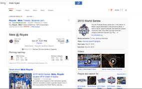 Bing Predicts' prediction about the outcome of the 2015 World Series.