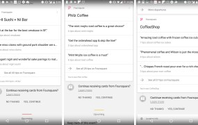 Foursquare tips in Google Now on Android.
