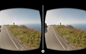 A Google Street View image of the California coast in Google Cardboard.