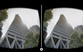 San Francisco's Transamerica Pyramid, as seen through the Google Street View app with Google Cardboard.