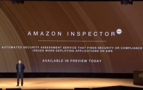 Amazon Web Services introduces the Amazon Inspector service at the AWS re:Invent conference in Las Vegas on Oct. 7.
