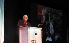 David Brin, sci-fi author, speaking at the SEA VR event.