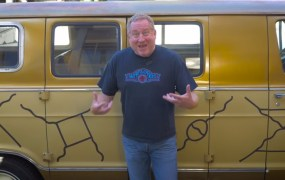 Seamus Blackley with the Feynman Van.