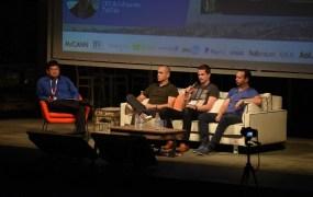 Geektime conference panelists Dean Takahashi of GamesBeat (left), Gigi Levy-Weiss of NFX Guild, Leonard Frankel of Plarium, and Sagi Schliesser of Tab Tale.
