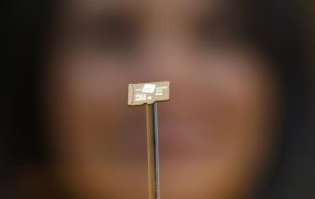 A woman looks at a data chip containing encryption codes for mobile and landline phones at the booth of Secusmart during the CeBIT trade fair in Hanover March 8, 2014