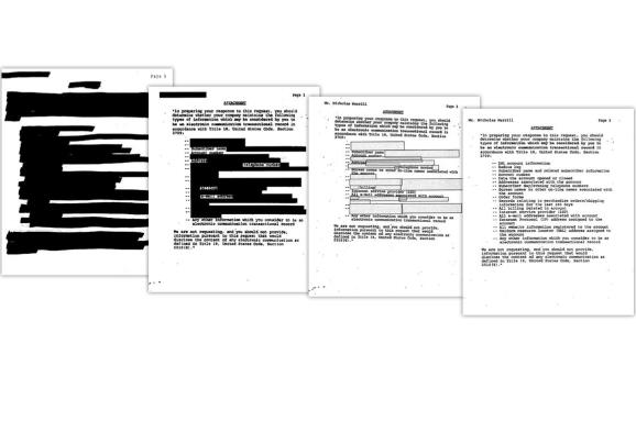 The National Security Letter sent to Calyx's Nicholas Merrill, in different forms of redaction.