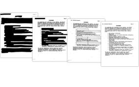 The National Security Letter sent to Calyx's Nicholas Merrill, in different degrees of redaction.