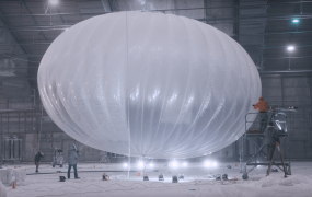 An Alphabet Project Loon balloon being tested in a Florida laboratory.