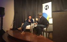 VentureBeat CEO Matt Marshall (right) interviews Cheetah Mobile VP Djamel Agaoua at the M1 conference in San Francisco Tuesday.