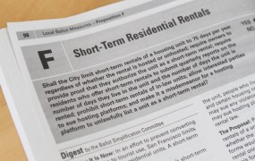 San Francisco's ballot measure Proposition F in 2015 that sought to restrict short-term home rentals.
