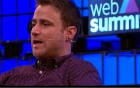 Slack cofounder Stewart Butterfield speaking at Web Summit 2015.