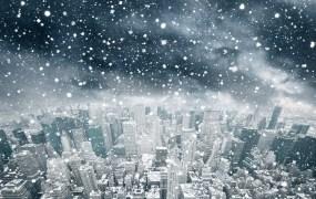 snow falling city winter