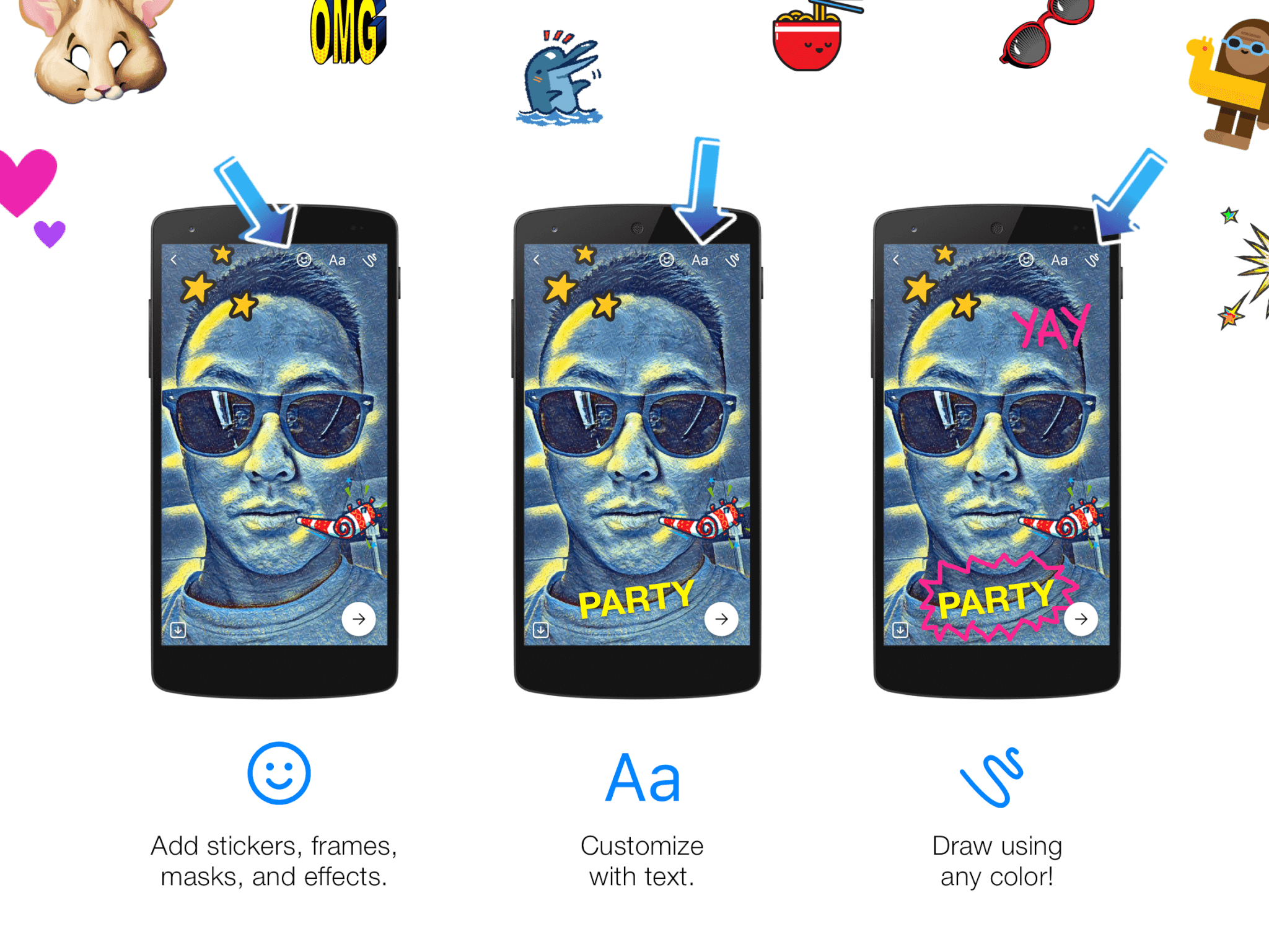 Cute Stickers For Facebook Facebook Messenger S New Camera Lets You Apply Art And Special
