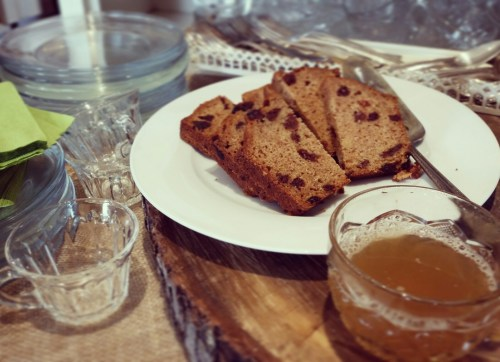 Come inside for some warm apple cider and cherry bread when the weather turns chill.