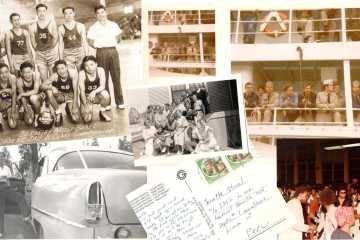 A collage composed of old photos and a postcard discovered at the Ashby Flea Market in Berkeley