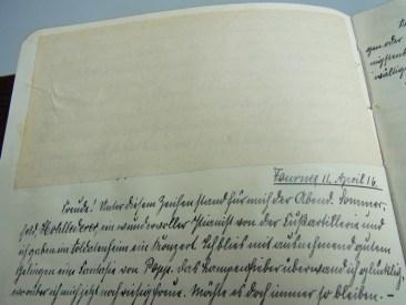 Zensierter Tagebucheintrag aus dem Tagebuch des Pankraz G.