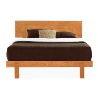 Natural Cherry Wood Platform Bed | Modern Style Furniture ...