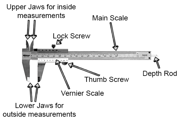 Vernier Caliper Labelled Diagram, AUTOCAD  Schematic Drawing