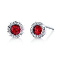 Ruby Diamond Halo Earrings - Vernon Jewelers