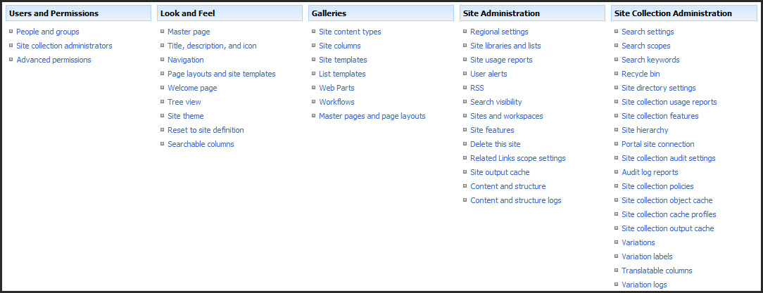 SharePoint 2007 vs 2010 for End Users  Site Settings \u2013 Views from