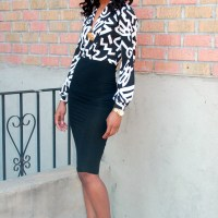 """Pencil skirt + Printed blouse"""