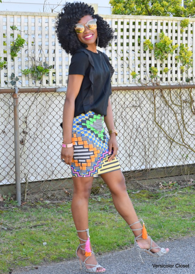 Printed skirt + fringe snake skin sandals (11)