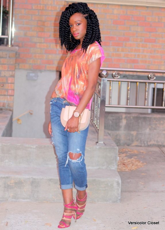 Styling ripped jeans, sequins top & caged heels (7)