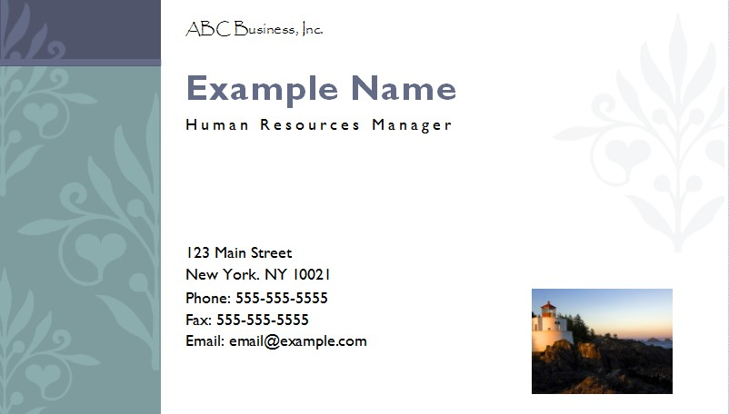 Design Your Own Business Cards with MS Publisher - Onsite Software - name card example