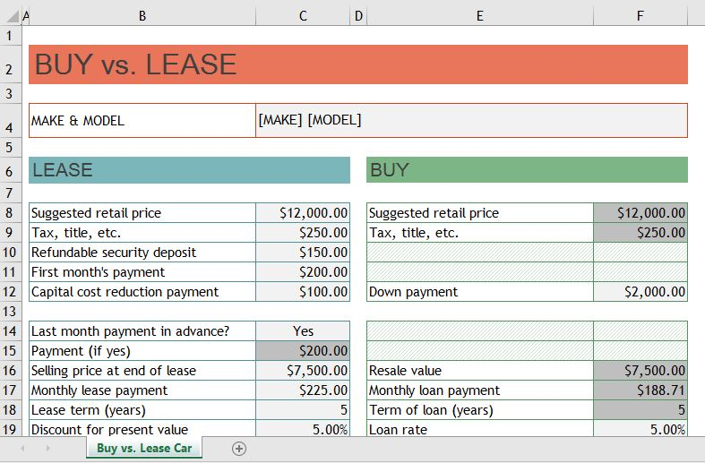 Financial Calculators for Excel - Onsite Software Training from Versitas - lease payment calculator