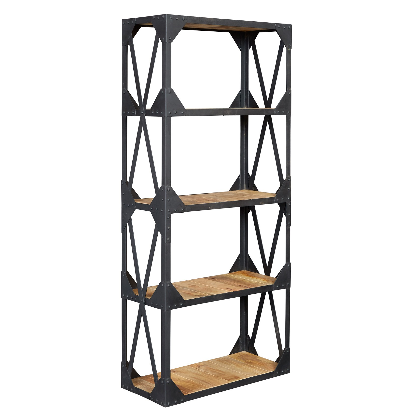 Aluminum Bookcase Vintage Industrial Metal And Wood Large Bookcase