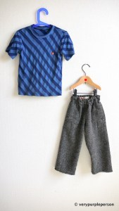Striped T-shirt and tweed pants