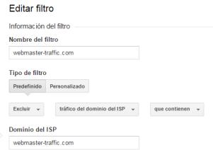 filtro exclusión tráfico del dominio ISP en Google Analytics