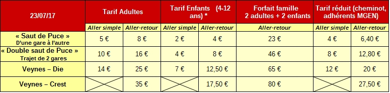 tarif 23 juillet