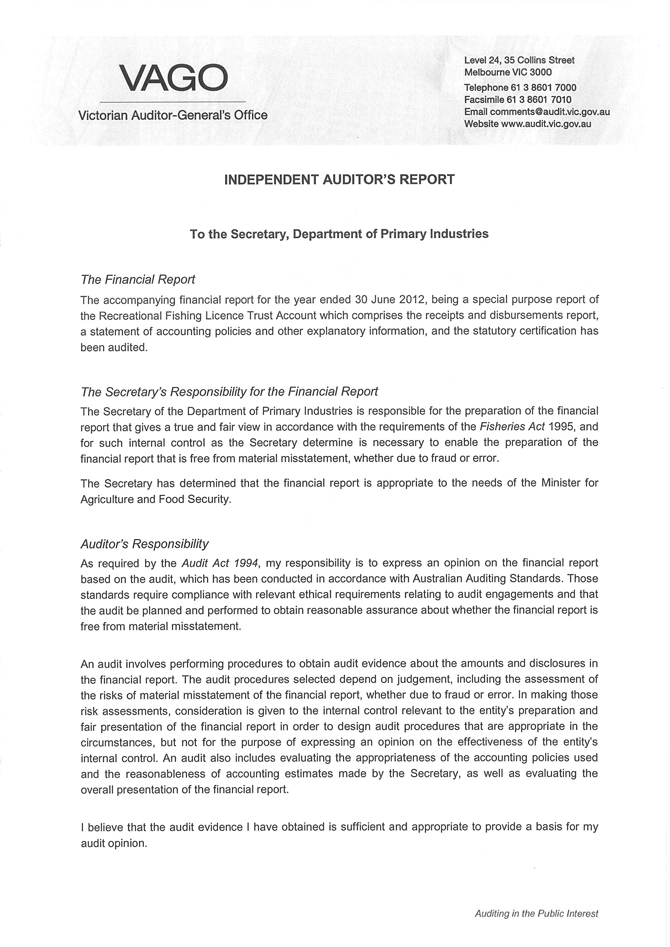 Independent Audit Report from Auditor-General - VFA