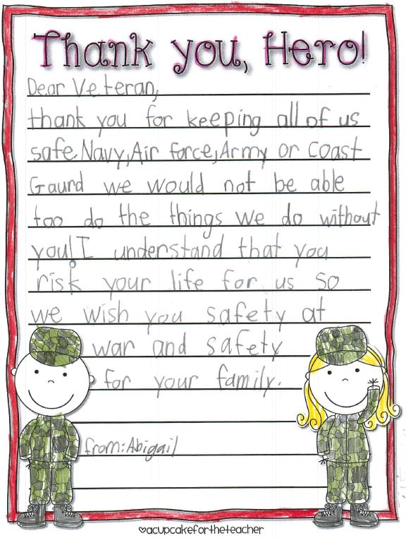 Local students send letters to Post 3063 Veterans \u2013 Ballard Eagleson