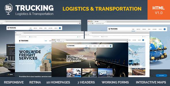 Trucking v10 \u2013 Transportation  Logistics HTML Template Free