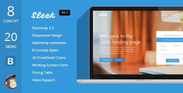 Sleek \u2013 Responsive Bootstrap 3 Landing Page Free Download - Free