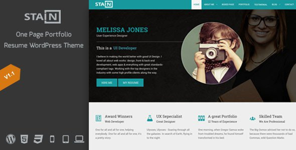 resume portfolio wordpress theme free