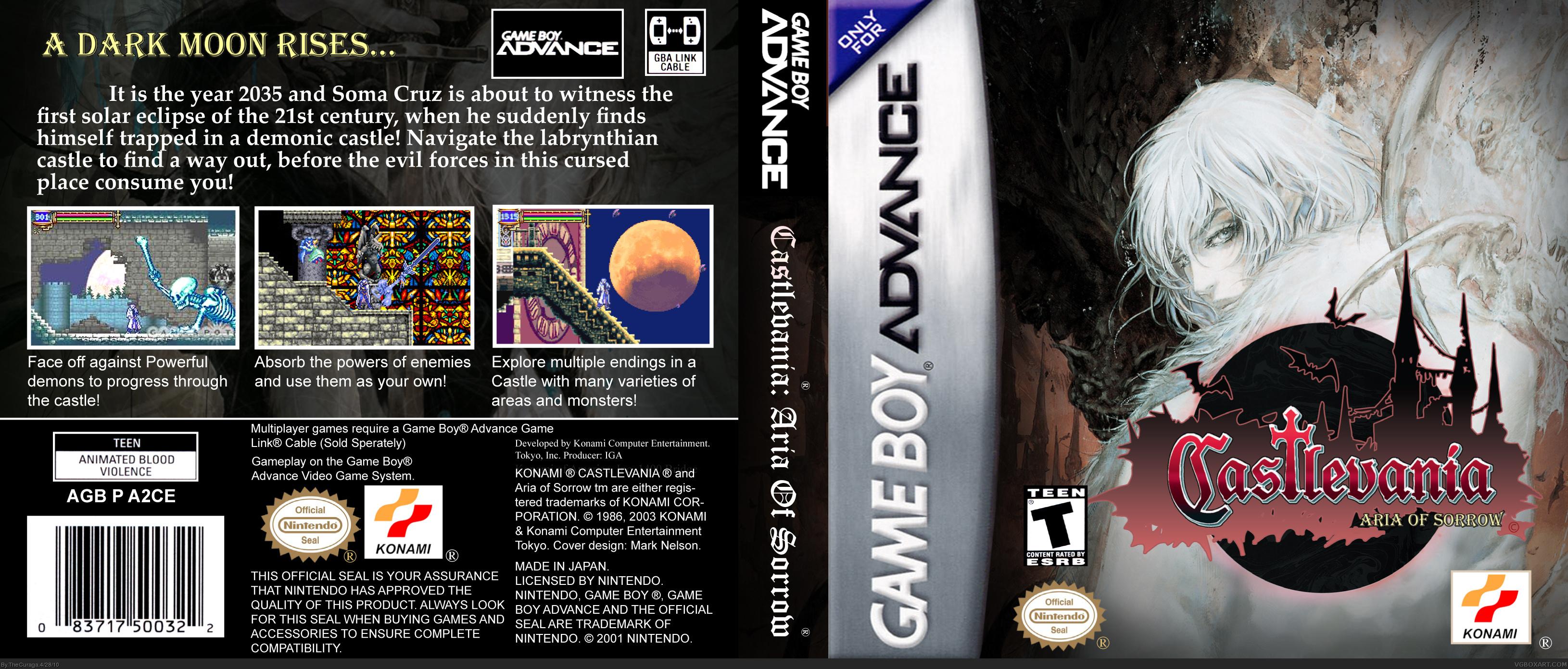 Castlevania Aria Of Sorrow Game Boy Advance Box Art Cover