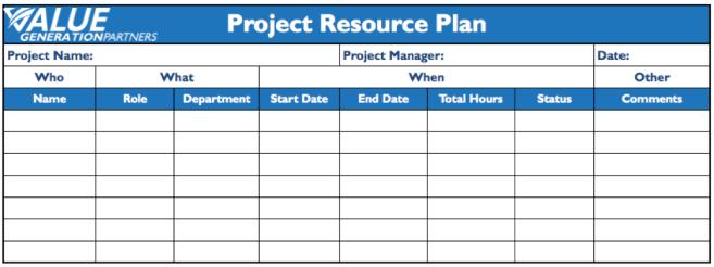 Project Management Page 3 Value Generation Partners Vblog