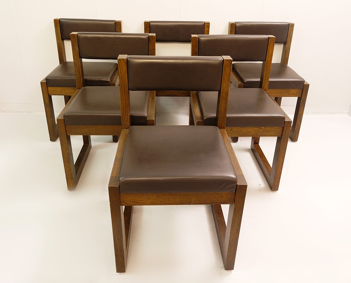 6 Dining Chairs By Emiel Veranneman For De Coene Belgium Dining Room Items By Category European Antiques Decorative