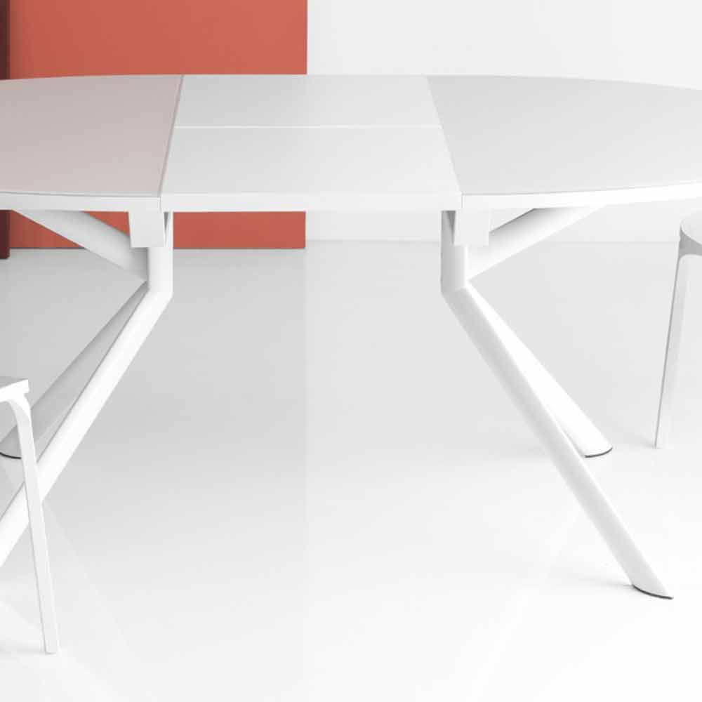 Table 140 Connubia Calligaris Giove Extendable Round Glass Table 140 190 Cm