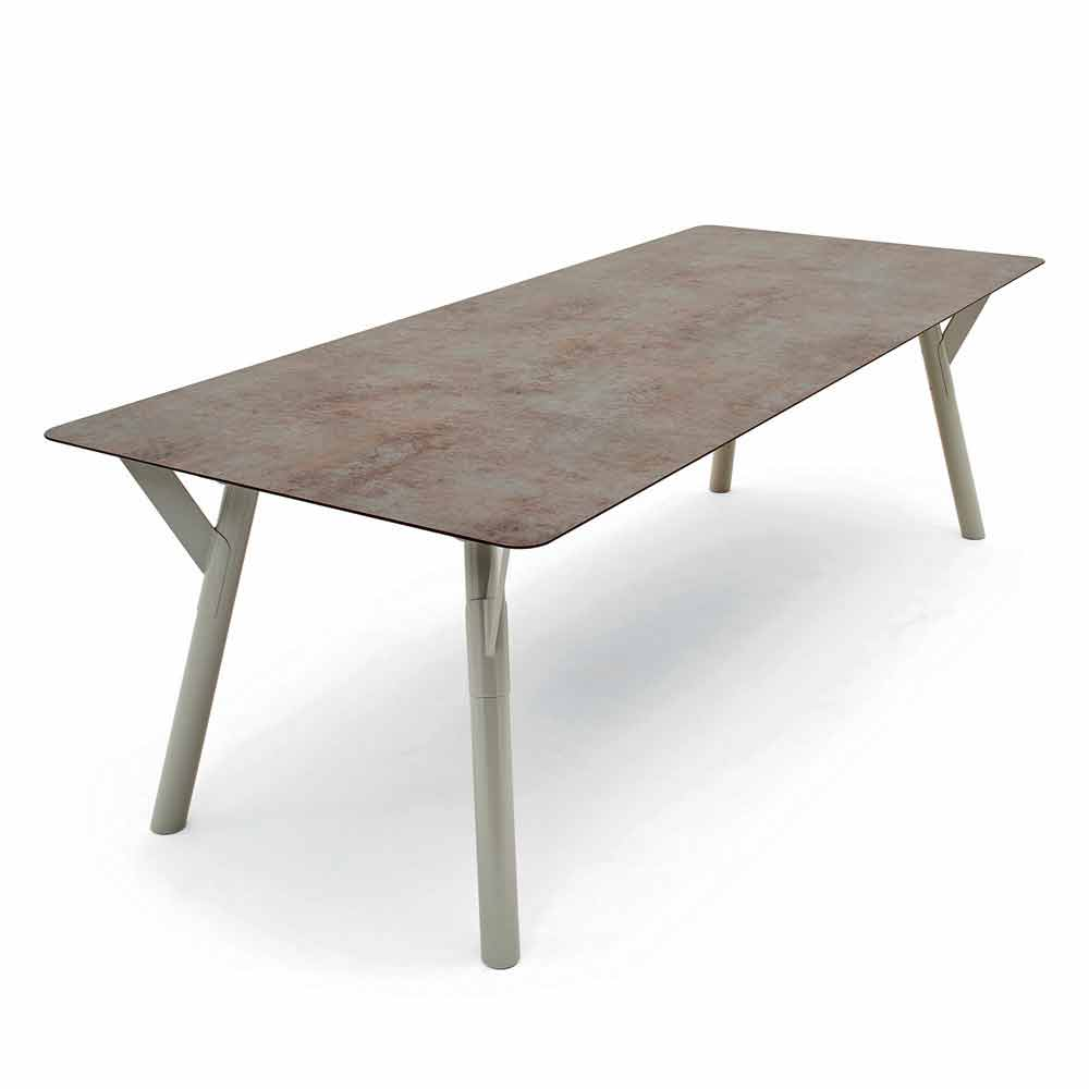 Table 140 Cm Extensible Extensible Garden Table, H 65 Cm, Up To 350 Cm Lenght